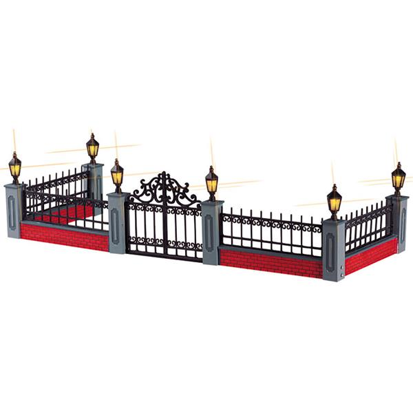 LEMAX - Lighted Wrought Iron Fence